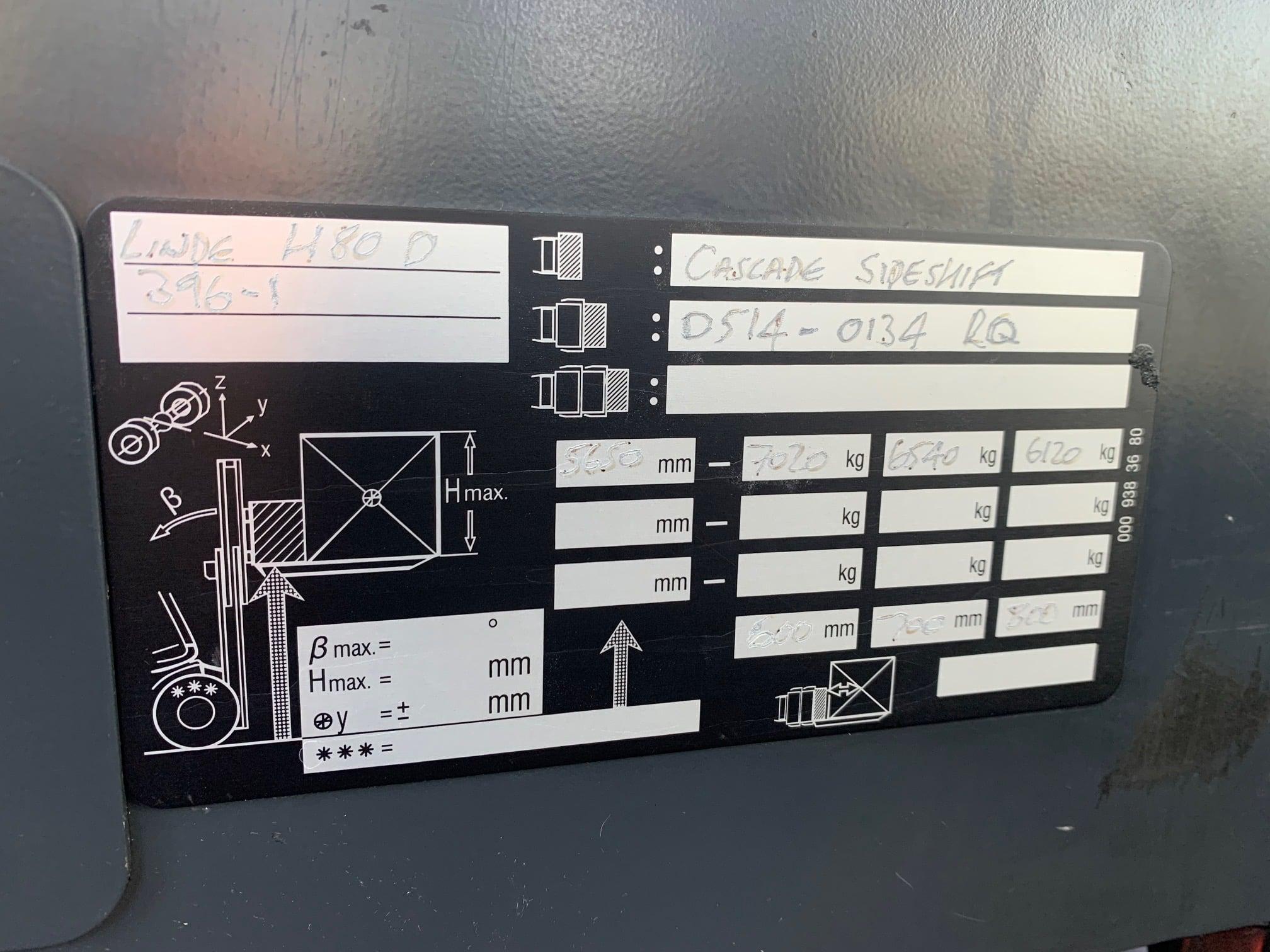 Linde H80D identification plate